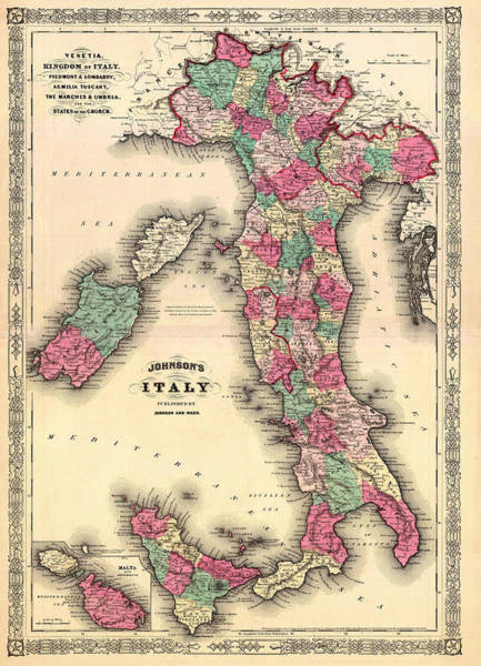 Collectible Art Drawing - Antique Map Of Italy by Mountain Dreams