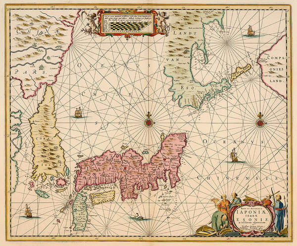 Physical Features Drawing - Antique Map Of Japan 1643 by Mountain Dreams