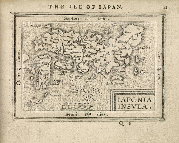 Japanese Drawing - Antique Map Of Japan By Abraham Ortelius - 1603 by Blue Monocle