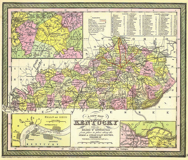 Collectible Art Drawing - Antique Map Of Kentucky 1850 by Mountain Dreams