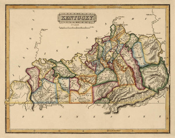 Wall Art - Drawing - Antique Map Of Kentucky By Fielding Lucas - Circa 1817 by Blue Monocle