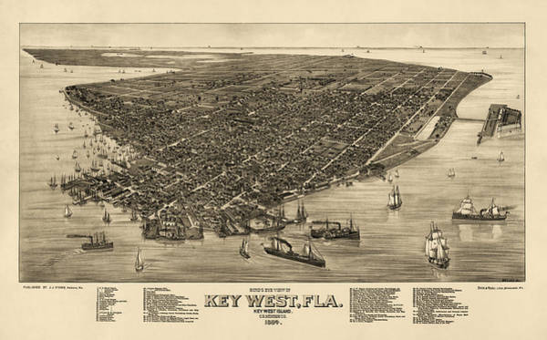 Eye Drawing - Antique Map Of Key West Florida By J. J. Stoner - 1884 by Blue Monocle