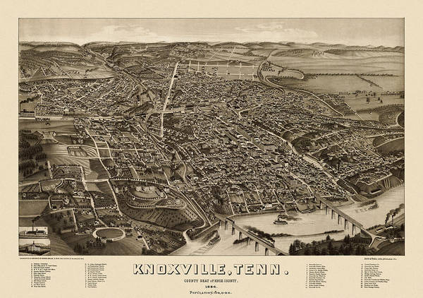 Old Blue Eyes Wall Art - Drawing - Antique Map Of Knoxville Tennessee By H. Wellge - 1886 by Blue Monocle