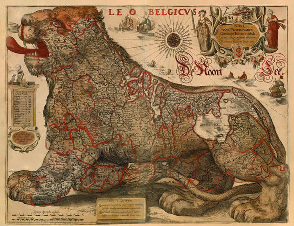 Physical Features Drawing - Antique Map Of Leo Belgicus 1630 by Mountain Dreams
