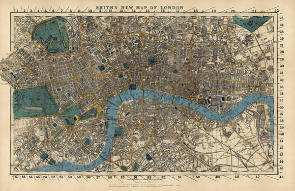 England Drawing - Antique Map Of London By C. Smith And Son - 1860 by Blue Monocle