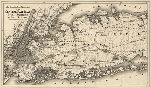 Wall Art - Drawing - Antique Map Of Long Island And New York City - 1873 by Blue Monocle