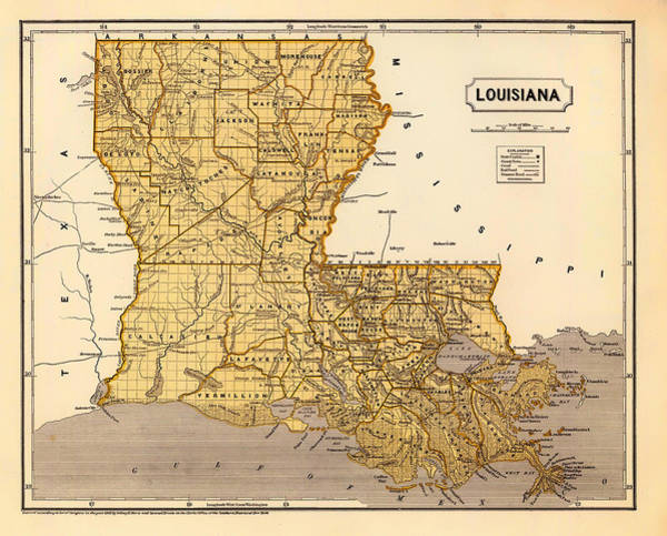 Collectible Art Drawing - Antique Map Of Louisiana 1845 by Mountain Dreams