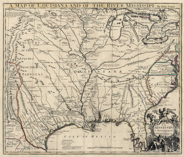 River Drawing - Antique Map Of Louisiana And The Mississippi River By John Senex - 1721 by Blue Monocle