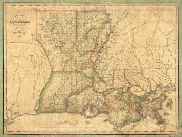 Wall Art - Drawing - Antique Map Of Louisiana By John Melish - 1820 by Blue Monocle
