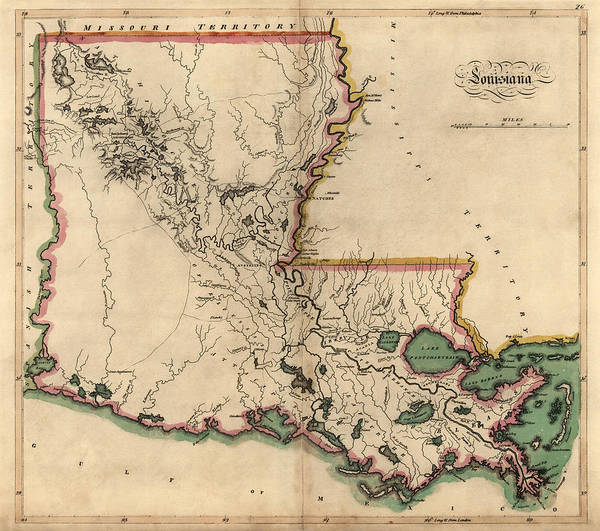 Mississippi River Drawing - Antique Map Of Louisiana By Mathew Carey - 1814 by Blue Monocle