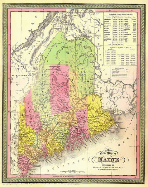 Collectible Art Drawing - Antique Map Of Maine by Mountain Dreams