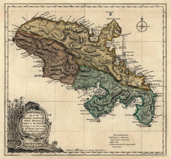 Wall Art - Drawing - Antique Map Of Martinique By Thomas Jefferys - 1768 by Blue Monocle