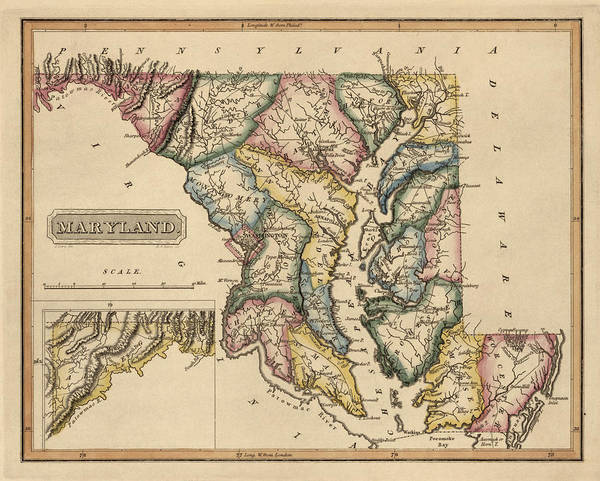 Vintage Map Drawing - Antique Map Of Maryland By Fielding Lucas - Circa 1817 by Blue Monocle