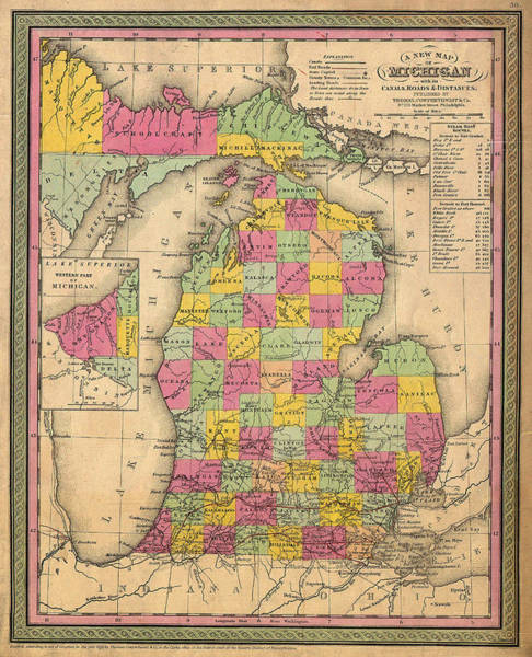 Collectible Art Drawing - Antique Map Of Michigan 1853 by Mountain Dreams