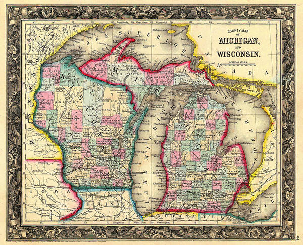 Antique Map Of Michigan And Wisconsin 1860 Art Print