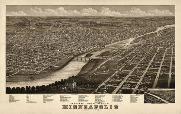 Old Blue Eyes Wall Art - Drawing - Antique Map Of Minneapolis Minnesota By A. Ruger - 1879 by Blue Monocle