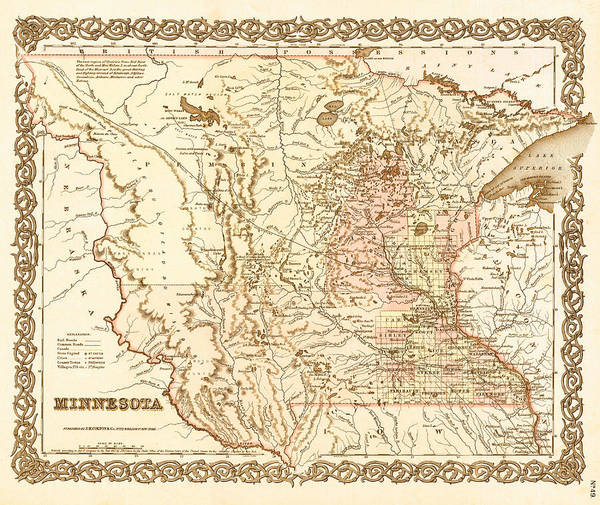 Collectible Art Drawing - Antique Map Of Minnesota 1855 by Mountain Dreams