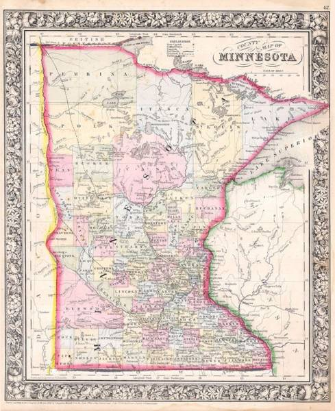 Collectible Art Drawing - Antique Map Of Minnesota 1864 by Mountain Dreams