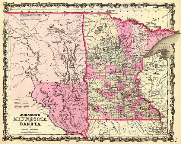 Minnesota Drawing - Antique Map Of Minnesota And The Dakota Territory 1862 by Mountain Dreams
