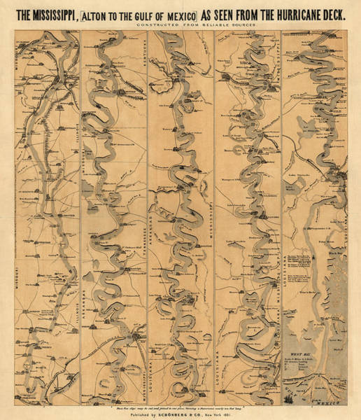 Mississippi River Drawing - Antique Map Of Mississippi River By Schonberg And Co. - 1861 by Blue Monocle