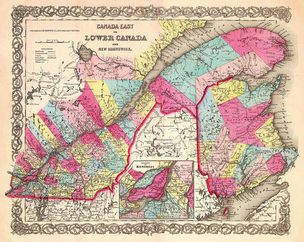 Quebec City Drawing - Antique Map Of Montreal Quebec And New Brunswick 1854 by Mountain Dreams