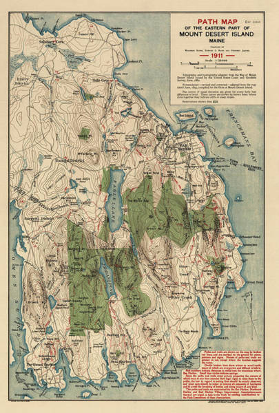 Acadia National Park Wall Art - Drawing - Antique Map Of Mount Desert Island - Acadia National Park - By Waldron Bates - 1911 by Blue Monocle