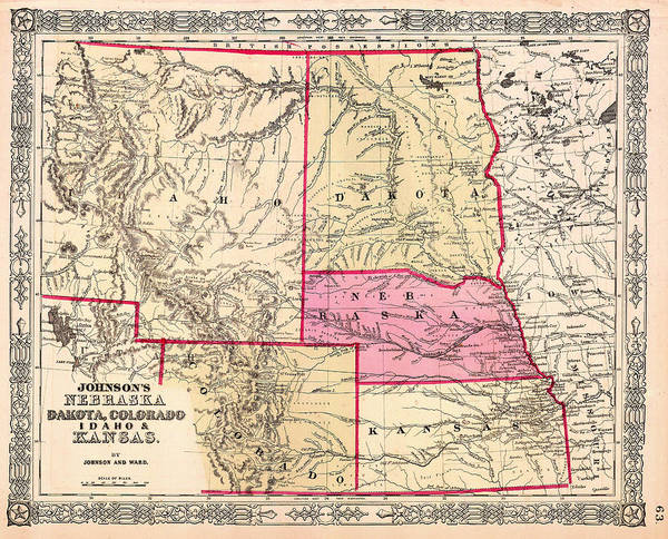 Collectible Art Drawing - Antique Map Of Nebraska Dakota Colorado Idaho And Kansas 1863 by Mountain Dreams