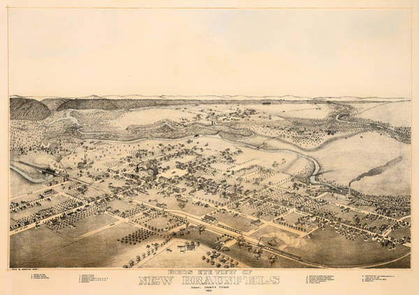 Collectible Art Drawing - Antique Map Of New Braunfels Texas 1881 by Mountain Dreams