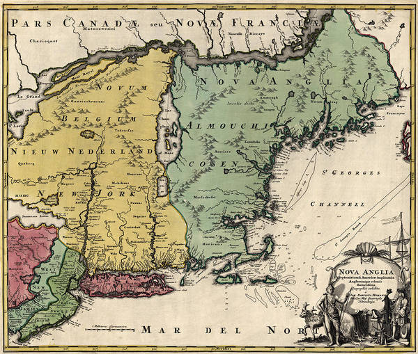 England Drawing - Antique Map Of New England By Johann Baptist Homann - Circa 1760 by Blue Monocle