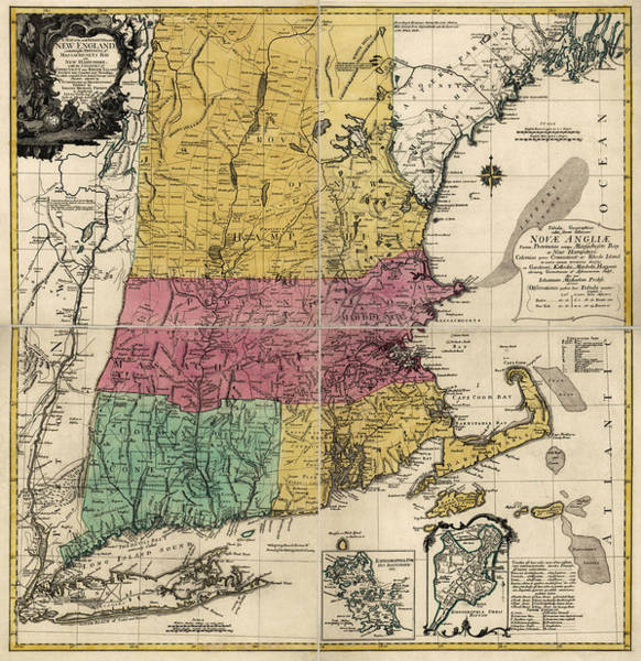 England Drawing - Antique Map Of New England By Johann Michael Probst - 1777 by Blue Monocle