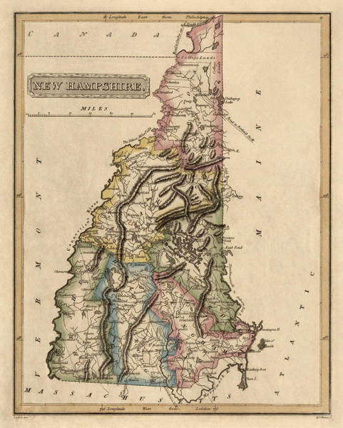 Antique Map Of New Hampshire By Fielding Lucas - Circa 1817 Art Print