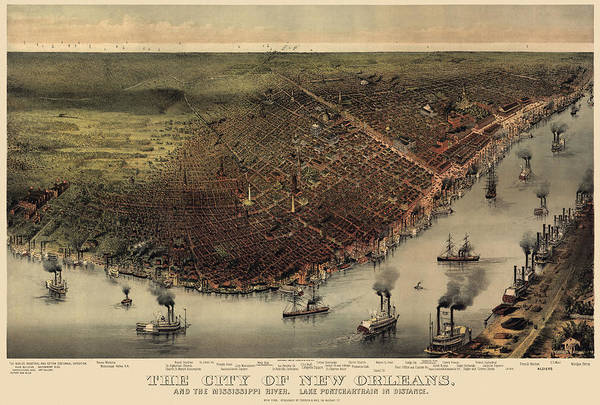 Eye Drawing - Antique Map Of New Orleans By Currier And Ives - Circa 1885 by Blue Monocle