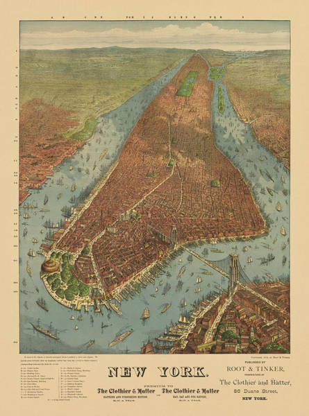 Old Blue Eyes Wall Art - Drawing - Antique Map Of New York City - 1879 by Blue Monocle