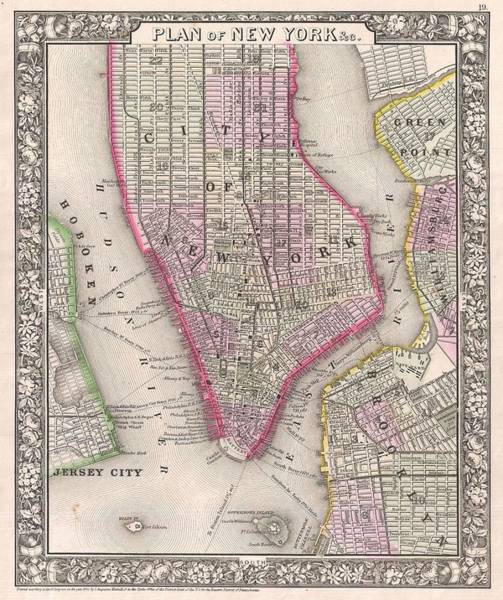 New York City Map Drawing - Antique Map Of New York City And Brooklyn 1860 by Mountain Dreams