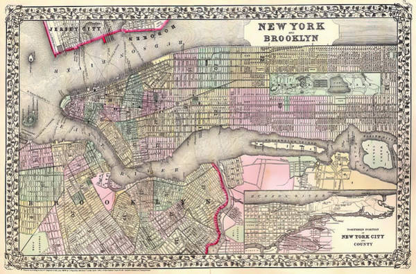 New York City Map Drawing - Antique Map Of New York City And Brooklyn 1867 by Mountain Dreams