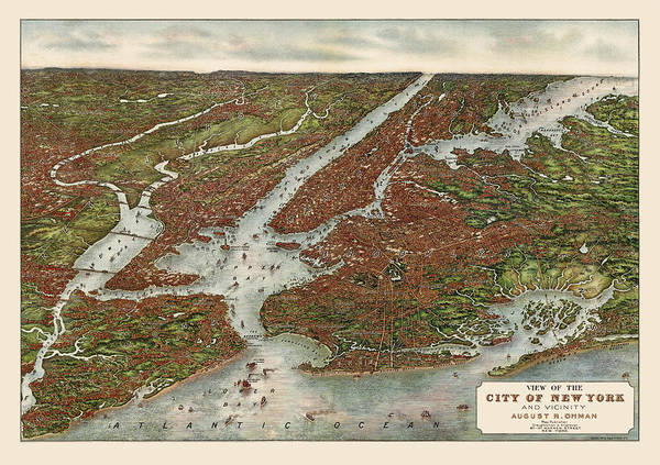 New York City Map Drawing - Antique Map Of New York City By August R. Ohman - 1907 by Blue Monocle