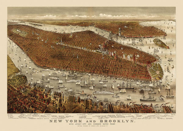 Currier And Ives Wall Art - Drawing - Antique Map Of New York City By Currier And Ives - Circa 1877 by Blue Monocle