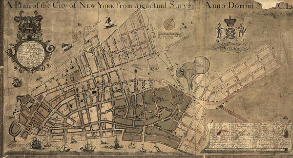 New York City Map Drawing - Antique Map Of New York City By Francis W. Maerschalck - Circa 1755 by Blue Monocle