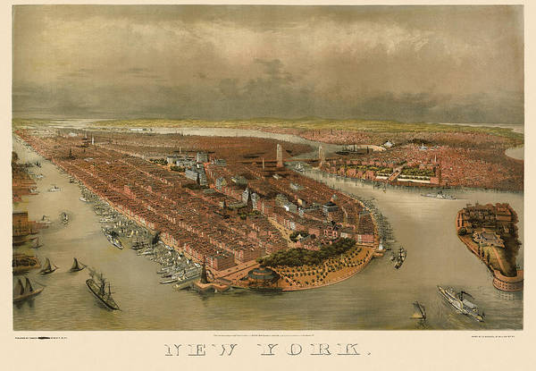 New York City Map Drawing - Antique Map Of New York City By George Schlegel - Circa 1874 by Blue Monocle