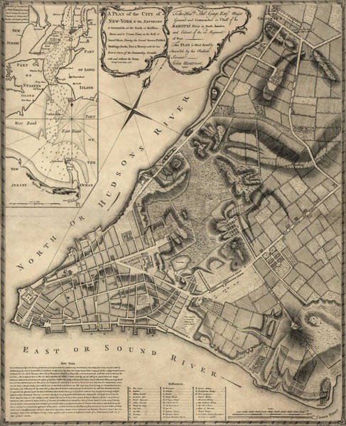 New York City Map Drawing - Antique Map Of New York City By John Montresor - 1766 by Blue Monocle