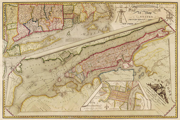 New York City Map Drawing - Antique Map Of New York City By John Randel - 1821 by Blue Monocle