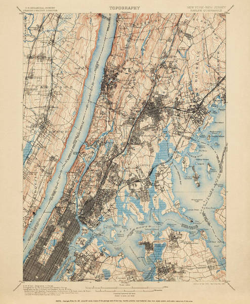 New York City Map Drawing - Antique Map Of New York City - Usgs Topographic Map - 1900 by Blue Monocle