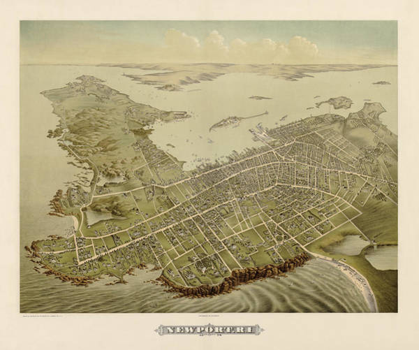 Newport Wall Art - Drawing - Antique Map Of Newport Rhode Island By Galt And Hoy - 1878 by Blue Monocle