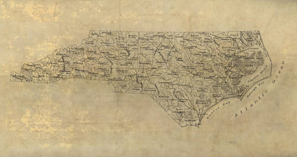 Wall Art - Drawing - Antique Map Of North Carolina - 1893 by Blue Monocle