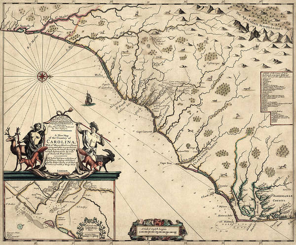South Drawing - Antique Map Of North Carolina And South Carolina By Joel Gascoyne - 1682 by Blue Monocle