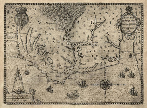 Roanoke Island Wall Art - Drawing - Antique Map Of North Carolina And Virginia By John White - 1590 by Blue Monocle