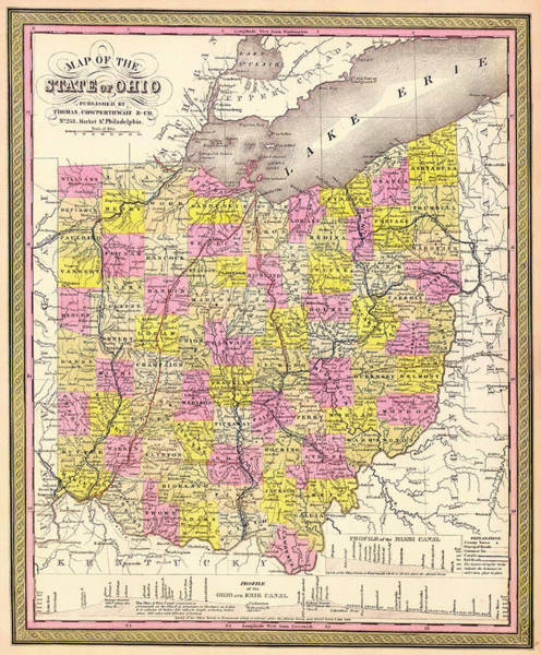 Collectible Art Drawing - Antique Map Of Ohio 1850 by Mountain Dreams