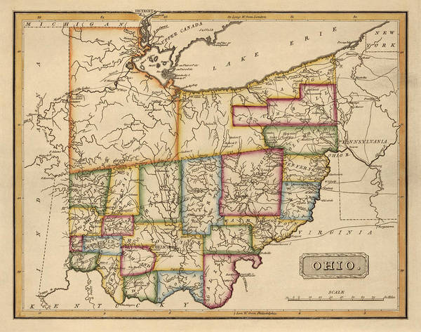 Vintage Map Drawing - Antique Map Of Ohio By Fielding Lucas - Circa 1817 by Blue Monocle
