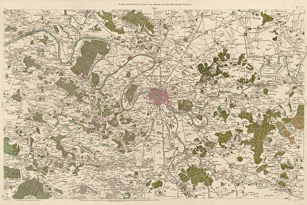 Cesar Wall Art - Drawing - Antique Map Of Paris France By Cesar-francois Cassini - 1789 by Blue Monocle