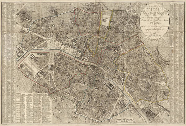 Wall Art - Drawing - Antique Map Of Paris France By Ledoyen - 1823 by Blue Monocle